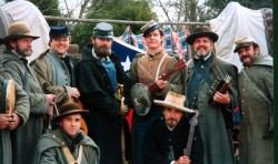 """The 2nd South Carolina String Band, seen here, beat the 1st South Carolina String Band in a Hunger Games-style competition to win the coveted spot of official South Carolina String Band for the St. Alban's Raid. Bandleader Jebediah Caulfield said, """"Do not fuck with a guy who can play a pie pan mounted to a stick."""""""