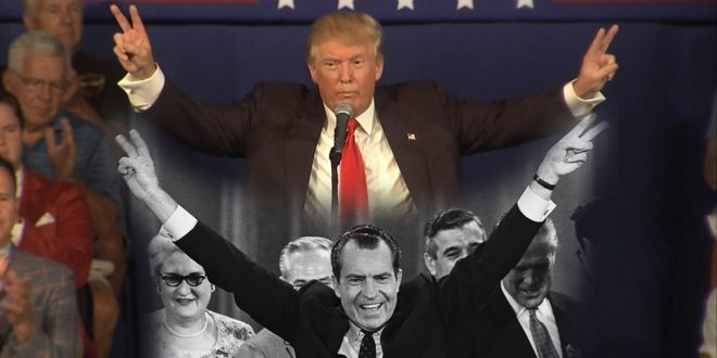 Donald Trump Nixon Double Peace Signs Richard Swartz
